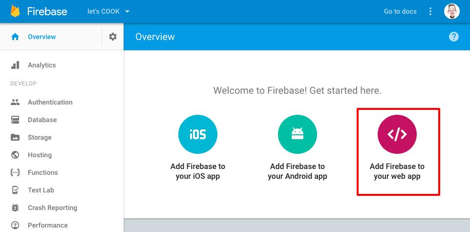 firebase app dashboard